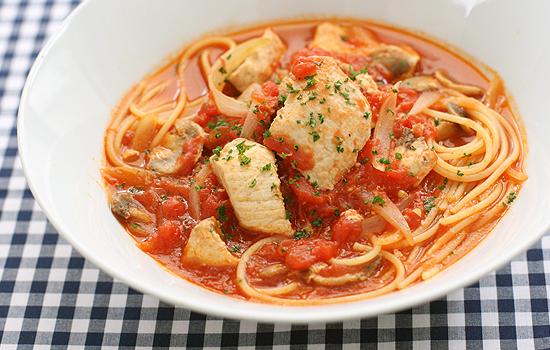 めかじきのトマトスープパスタ